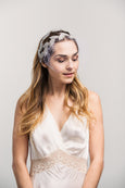 Birdcage Veil - Silver Beaded Leaves