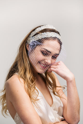 Birdcage Veil - Deco Beaded Headband