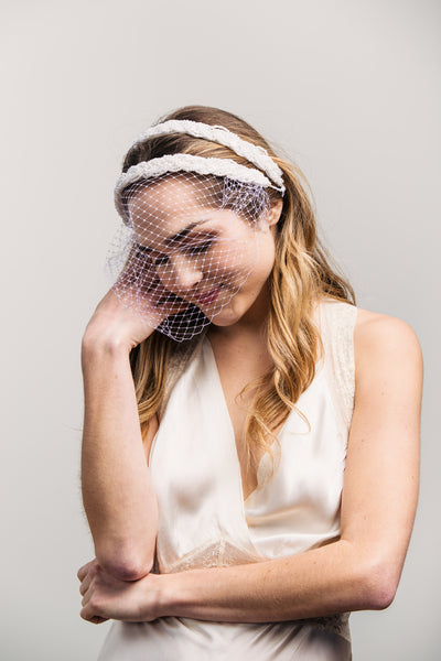 Birdcage Veil - White Beaded Twist