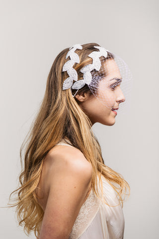 Birdcage Veil - White Beaded Leaves