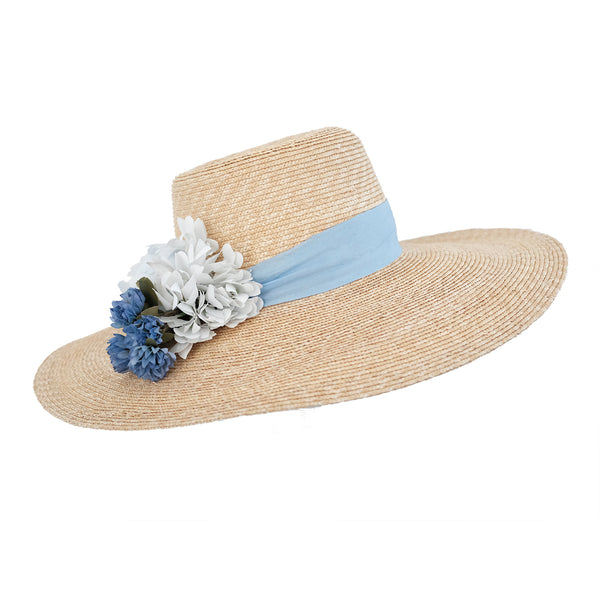 Meadow Hat - Natural with Cornflower