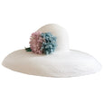 Picture Hat - Natural with Blue and Faded Pink