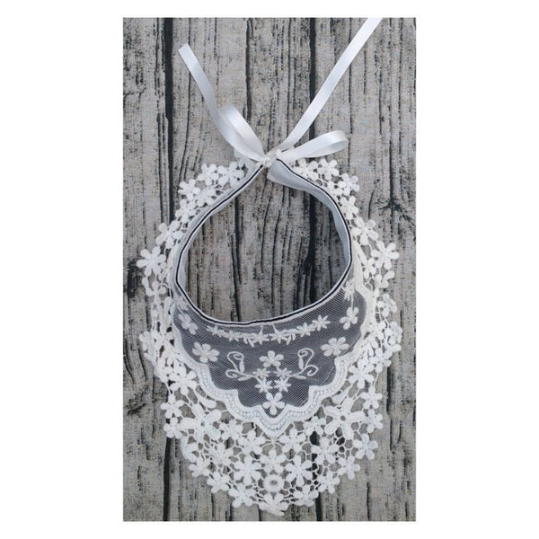 Lace Flower Baby Bib - Grey and White