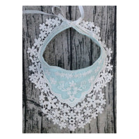 Lace Flower Baby Bib - Light Blue and White
