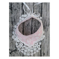 Lace Flower Baby Bib - Pink and White