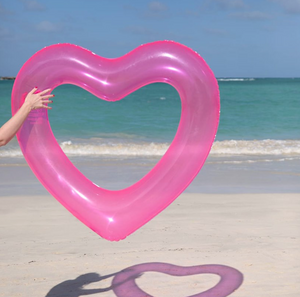 Neon Pink Heart Pool Float