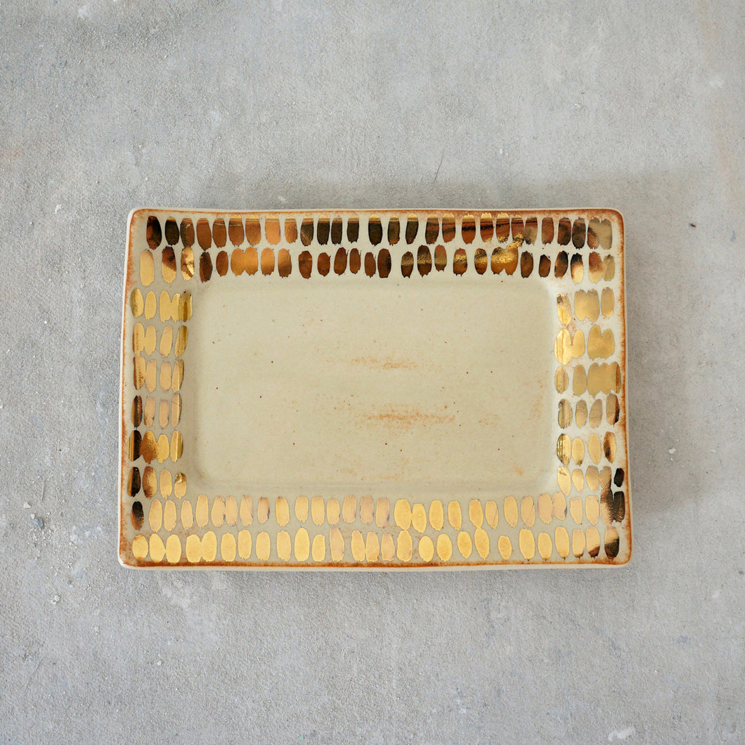 Mini Cream + Gold Tray