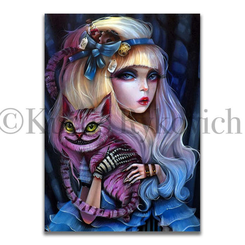 Alice -  Hand Embellished Plaque Print