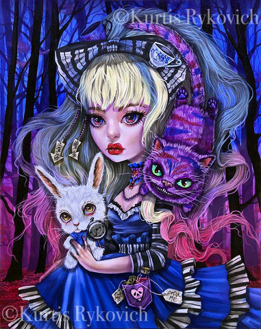 Alice In Wonderland-  Hand Embellished Plaque Print