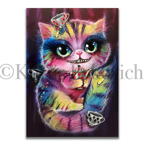 CHESHIRE -  Hand Embellished Plaque Print