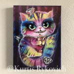 Cheshire Cat Canvas Print ( Hand Embelllished)