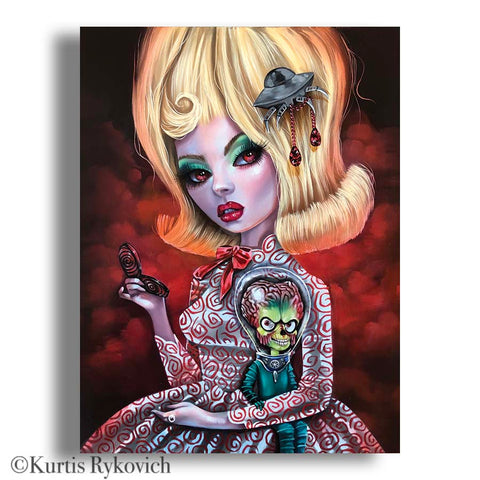 Madam Alien Canvas Print ( Hand Embelllished)