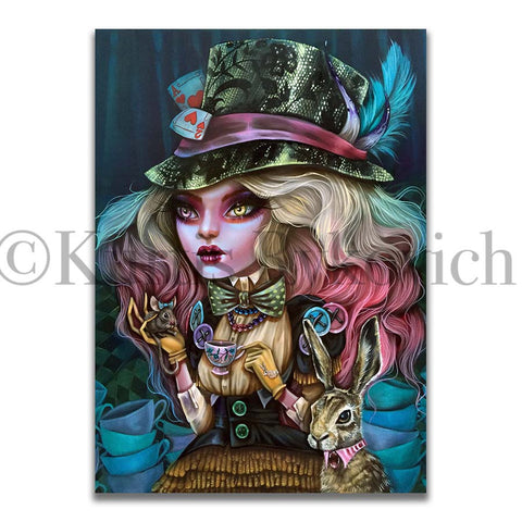 MAD HATTER -  Hand Embellished Plaque Print