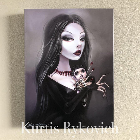 Morticia Canvas Print ( Hand Embelllished)
