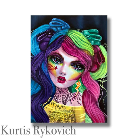 Pixie - Hand Embellished Plaque Print