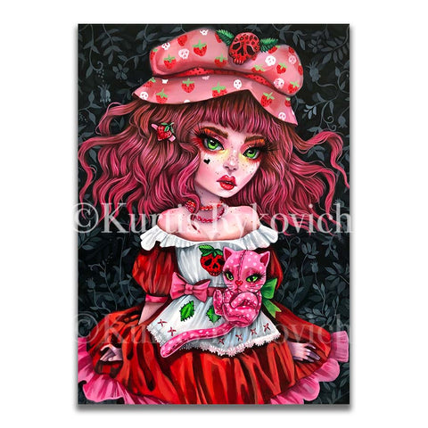STRAWBERRY SHORT CAKE -  Hand Embellished Plaque Print