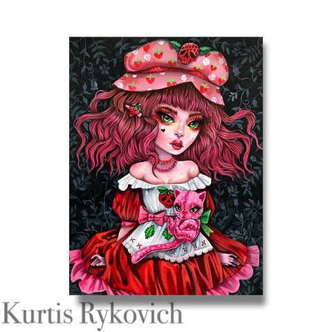 Strawberry Shortcake- Hand Embellished Plaque Print