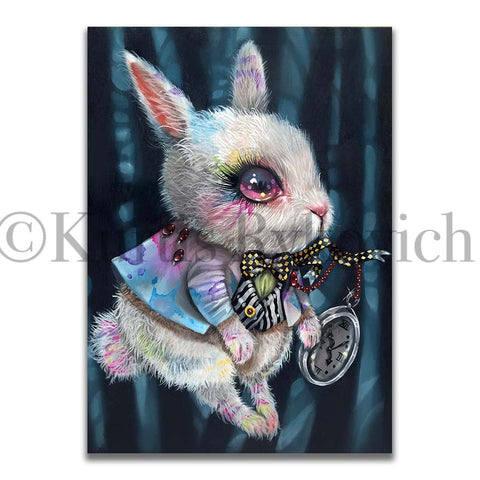 WHITE RABBIT -  Hand Embellished Plaque Print