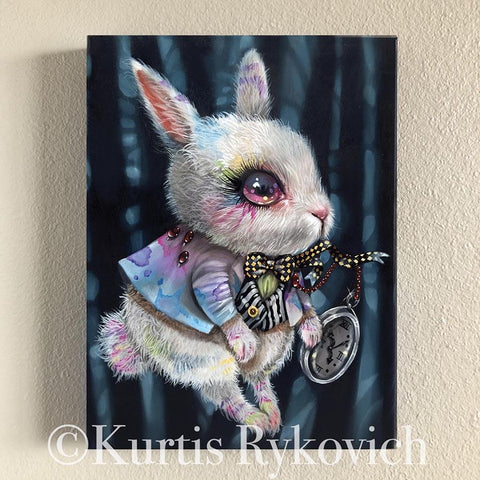 White Rabbit Canvas Print ( Hand Embelllished)