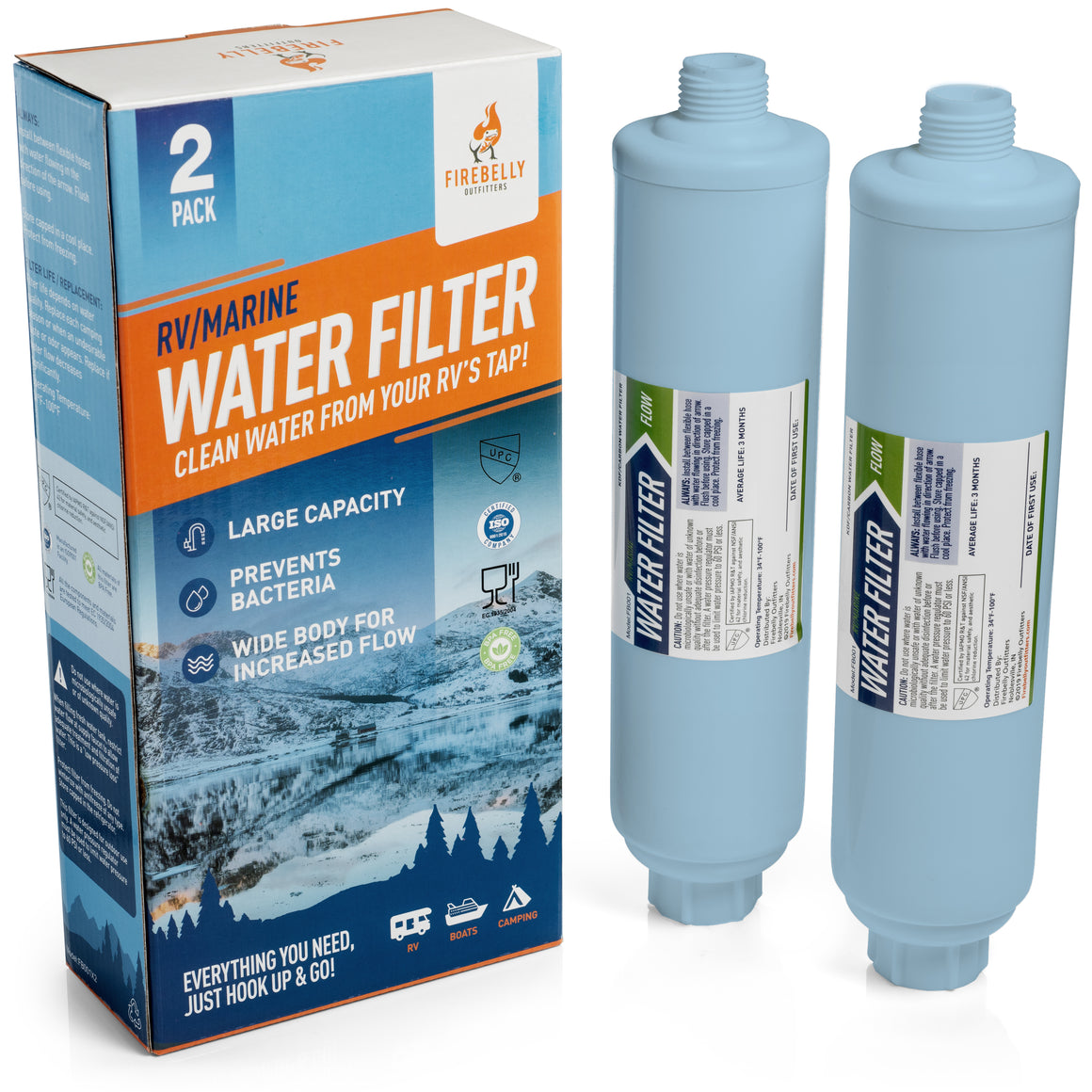 Firebelly Outfitters RV/Marine Inline Carbon Water Filter Replacement Kit (2 Pack) KDF Filtration System Protects Against Bad Taste, Odor, Iron, Lead, Mercury, Chlorine, Sediment, Mold, Fungus & More