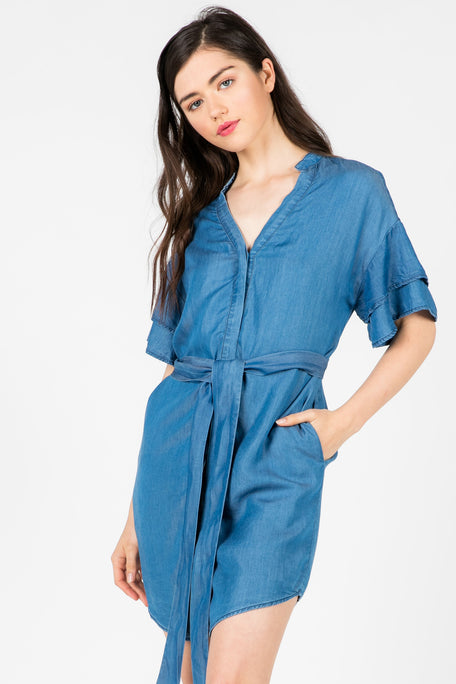 LET THEM STARE FLUTTER SLEEVE TIE DRESS