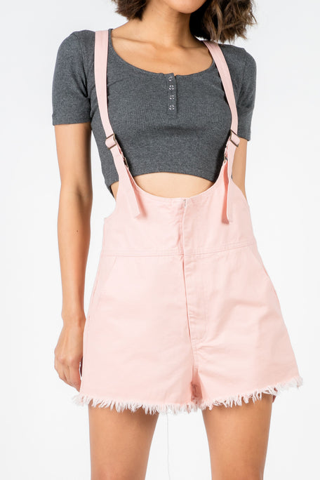 Strapped Pink Denim Overalls