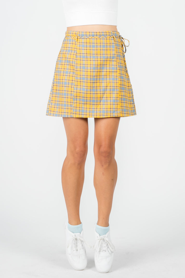 CHER YELLOW PLAID MINI SKIRT