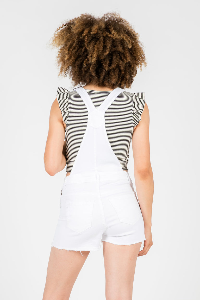 REESE WHITE OVERALL SHORTS