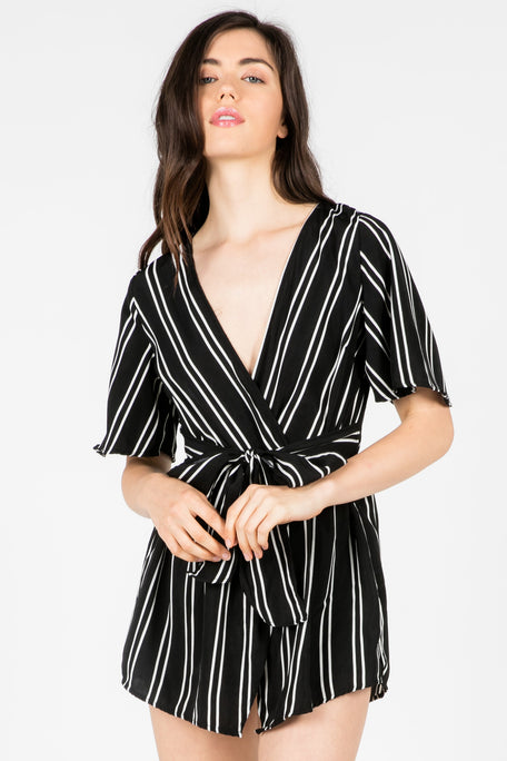 """Tied Down"" Striped Romper"