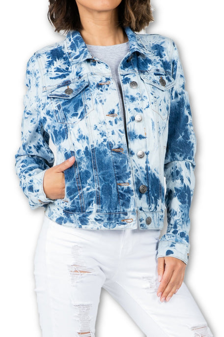 Tie-Dye Denim Boyfriend Jacket