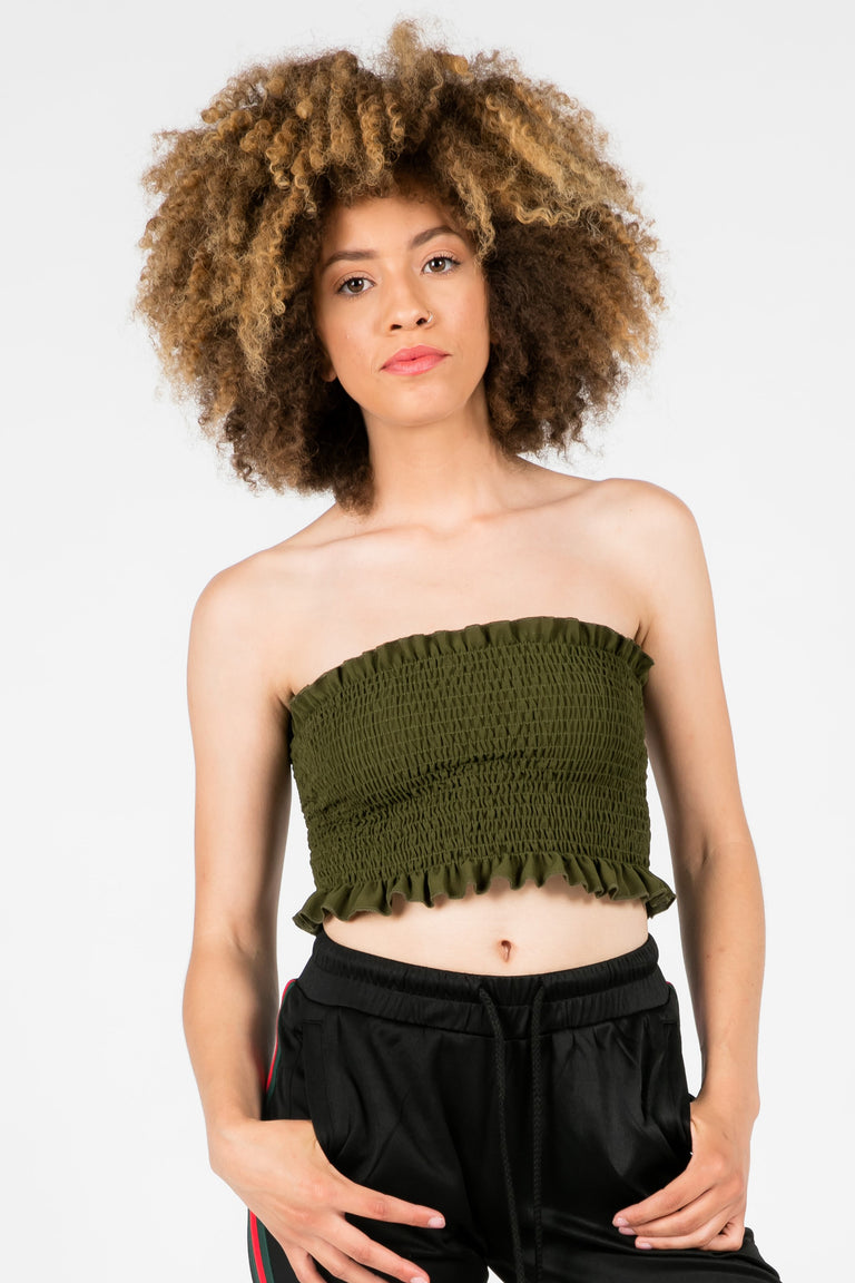 GOOD FOR YOU SMOCKED TUBE TOP