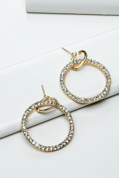 Accessories - CIRCLE RHINESTONE EARRINGS