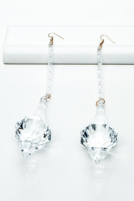 Accessories - LARGE CRYSTAL CLEAR DANGLE EARRINGS