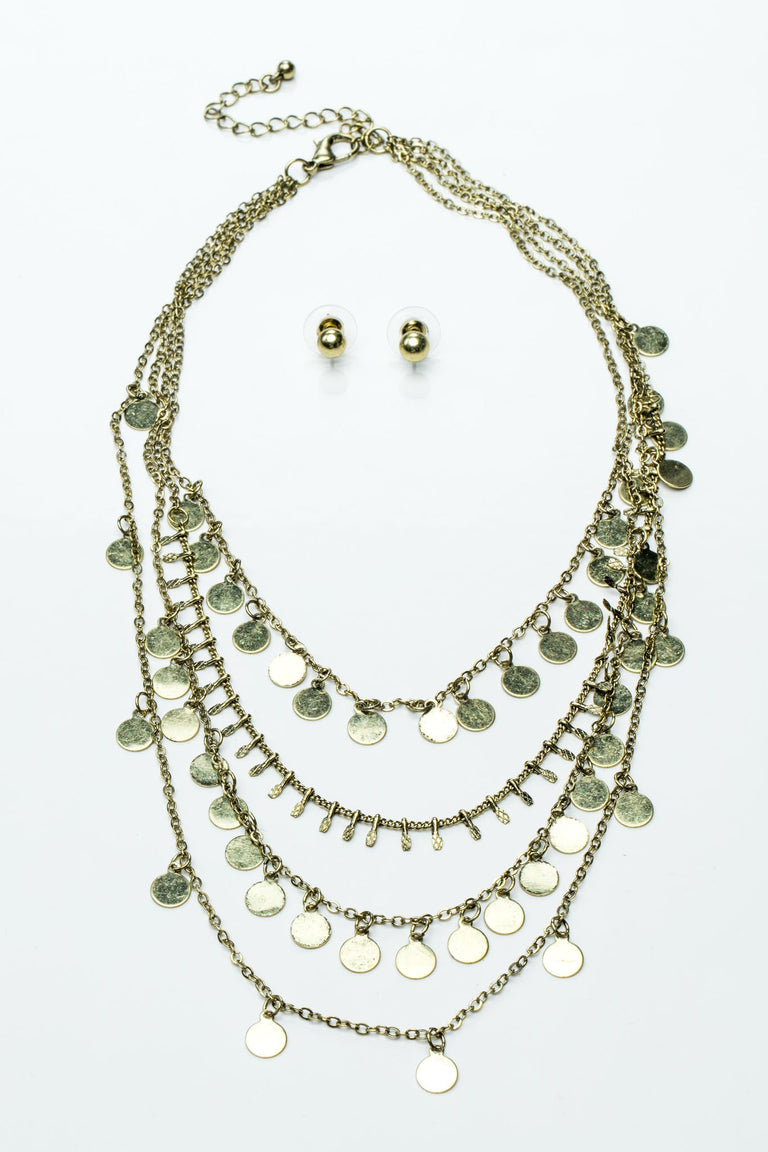 Accessories - NOBEL METAL NECKLACE WITH BALL STUD EARRINGS