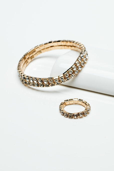 Accessories - RHINESTONE BRACELET AND RING SET