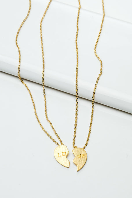 "Accessories - TWO PIECE ""LOVE"" HEART NECKLACE"