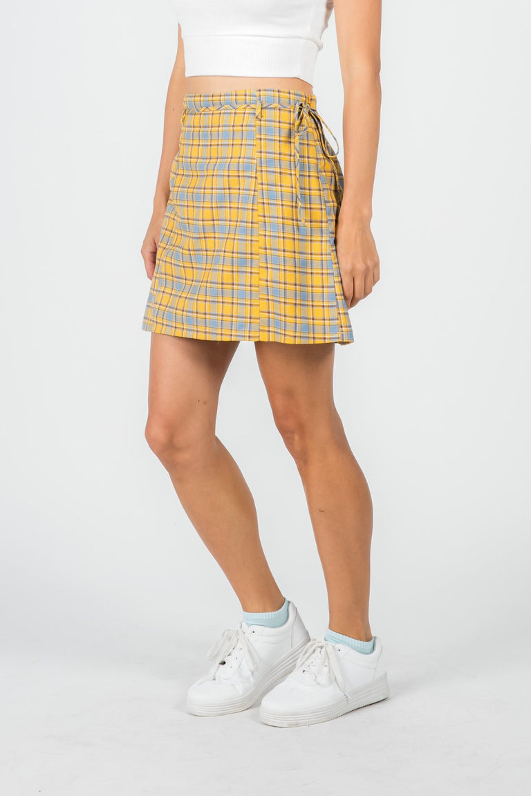 Bottoms - CHER YELLOW PLAID MINI SKIRT