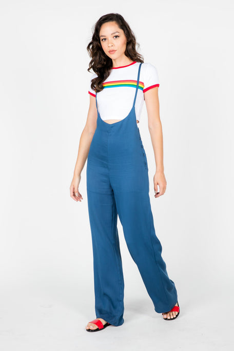 Bottoms - GWEN WIDE LEG OVERALL JUMPSUIT
