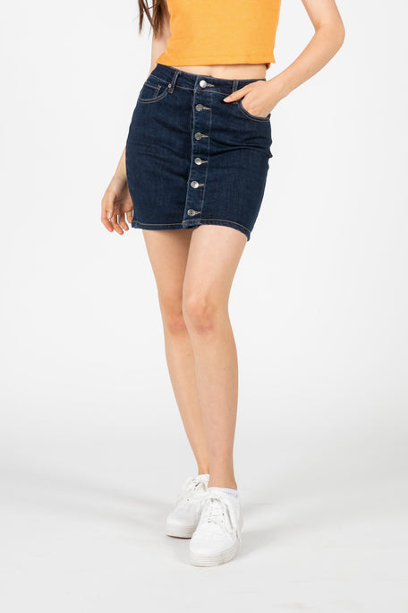 Bottoms - SELF CONTROL BUTTON DENIM SKIRT