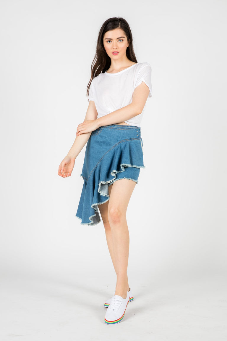 Bottoms - SIA ASYMMETRICAL DENIM SKIRT