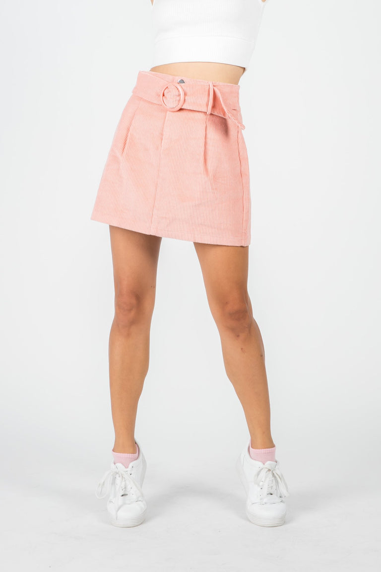 Bottoms - STACEY CORDUROY PINK MINI SKIRT