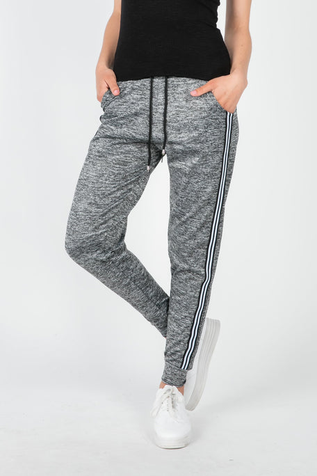 Bottoms - T'WORK  IT OUT HEATHER GREY STRIPED JOGGER PANT