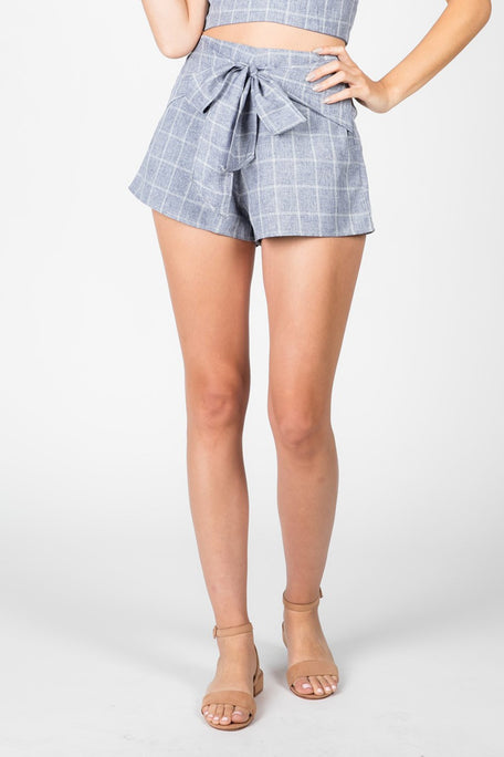 Bottoms - TAKE A BOW PLAID TIE SHORT