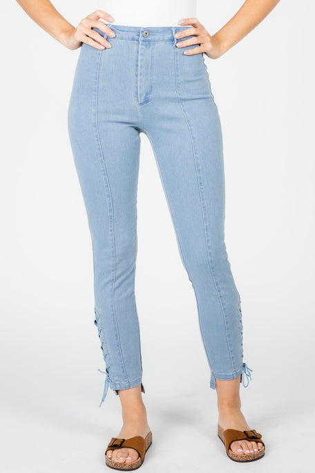 LACEY TIE-UP SKINNY JEANS