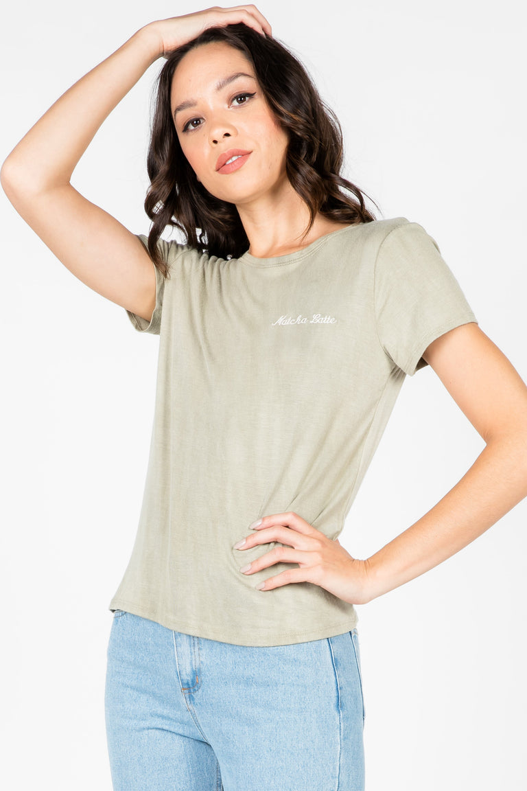 MATCHA LATTE EMBROIDERED TEE
