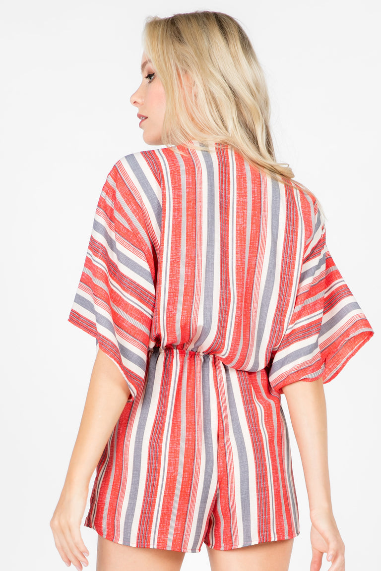 FEEL THIS MOMENT STRIPED ROMPER