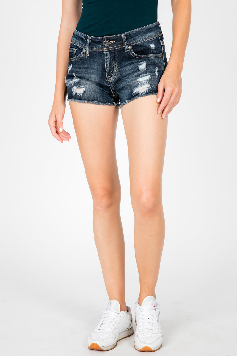DEMI DISTRESSED MID RISE SHORTS