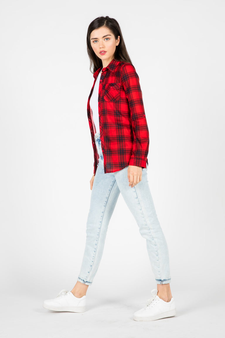 Tops - BAD LOVERS RED PLAID SHIRT