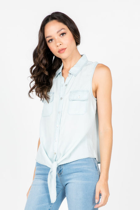 Tops - UNFOLD SLEEVELESS BUTTON-UP TOP