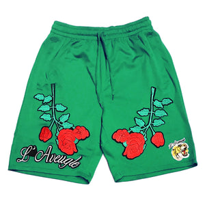 "L Avengles ""Antique Rose"" Mesh Shorts ""Green"""